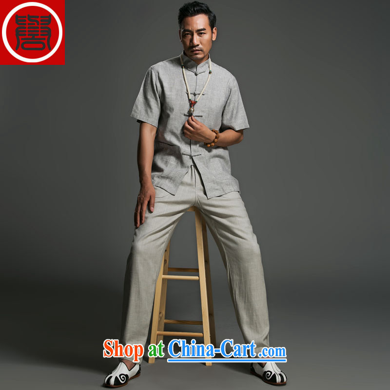 Internationally renowned Chinese clothing linen pants men's relaxed, summer 2015 men's casual pants light gray, older pants ethnic wind T 8015 light gray 3 XL