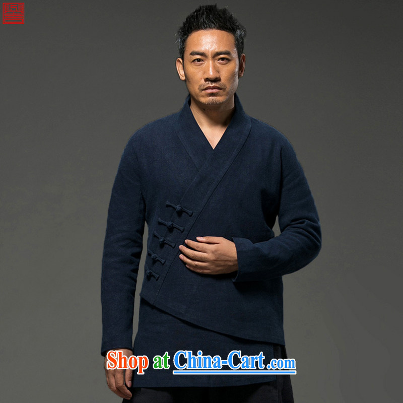 Internationally renowned Chinese clothing Chinese wind autumn and winter clothes, jackets and long-sleeved cotton Ma Tang with improved spiritual cynosure serving loose T-shirt-tie blue XXXL