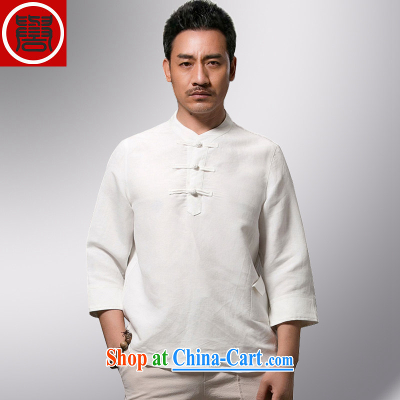 Internationally renowned Chinese wind men Han-short-sleeved men's Chinese linen T-shirt men's loose cotton summer the 7 T-shirt white this will shrink the code