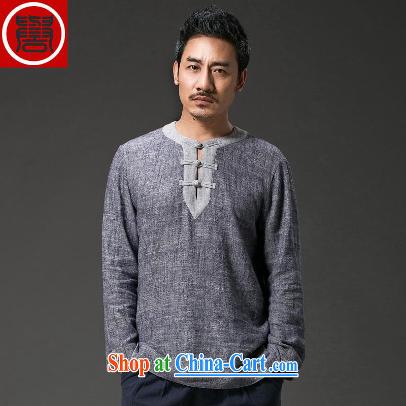 Internationally renowned 2015 China wind men napped T long-sleeved shirt shirt men's Chinese linen round-collar-tie casual men's solid autumn T-shirt with T-shirt dark gray and souvenir new