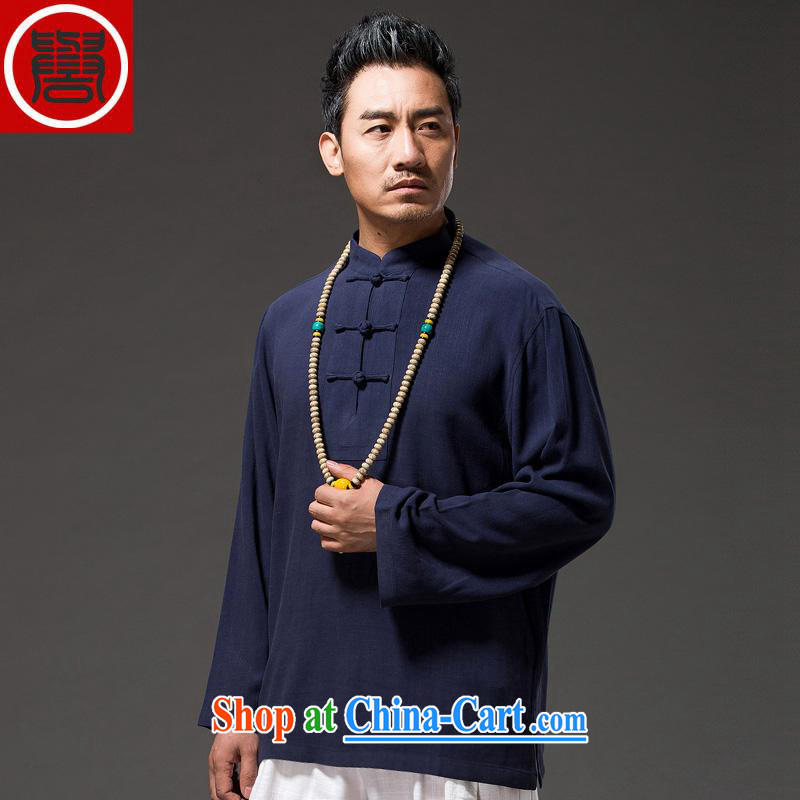 Internationally renowned 2015 China wind men's linen shirt autumn T long-sleeved shirt solid color men's autumn cotton Ma Tang replace T shirt T-shirt and dark blue 3XL_185