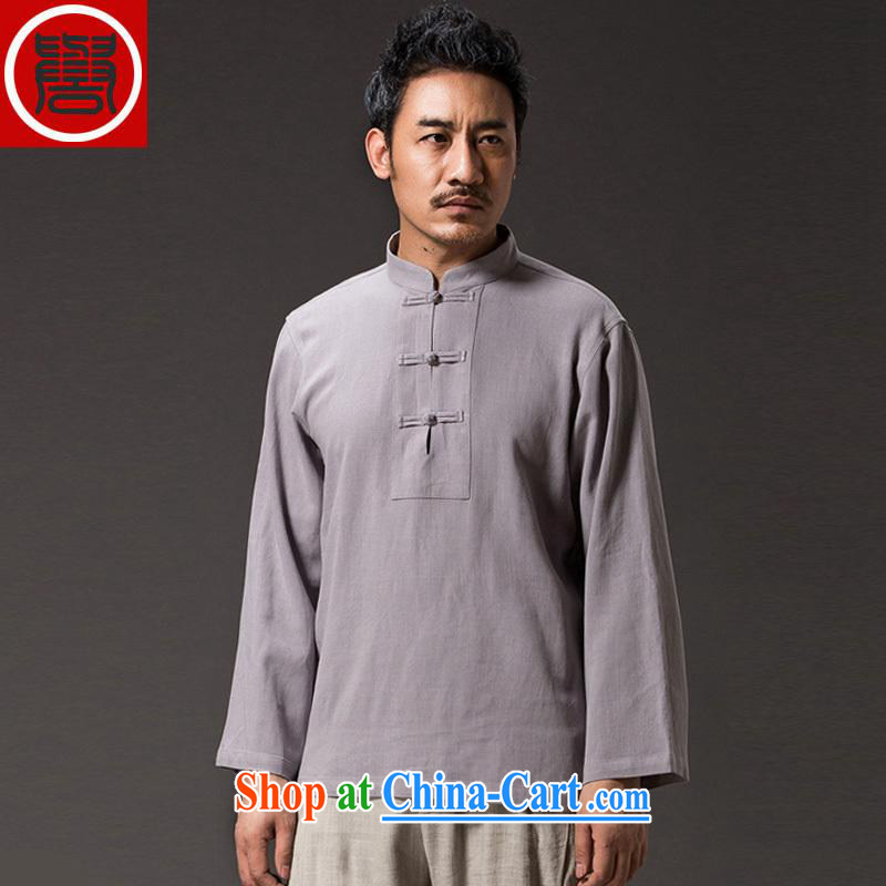 Internationally renowned 2015 China wind men's linen shirt solid-colored long-sleeved shirt T autumn flax retro men's Chinese T shirt T-shirt and gray XL