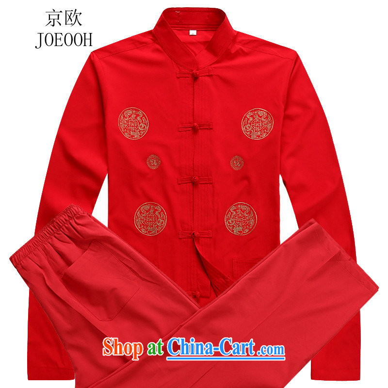 Putin's European autumn and the Chinese men's long-sleeved Chinese Ethnic Wind-snap Tang Replace T-shirt red XXXL