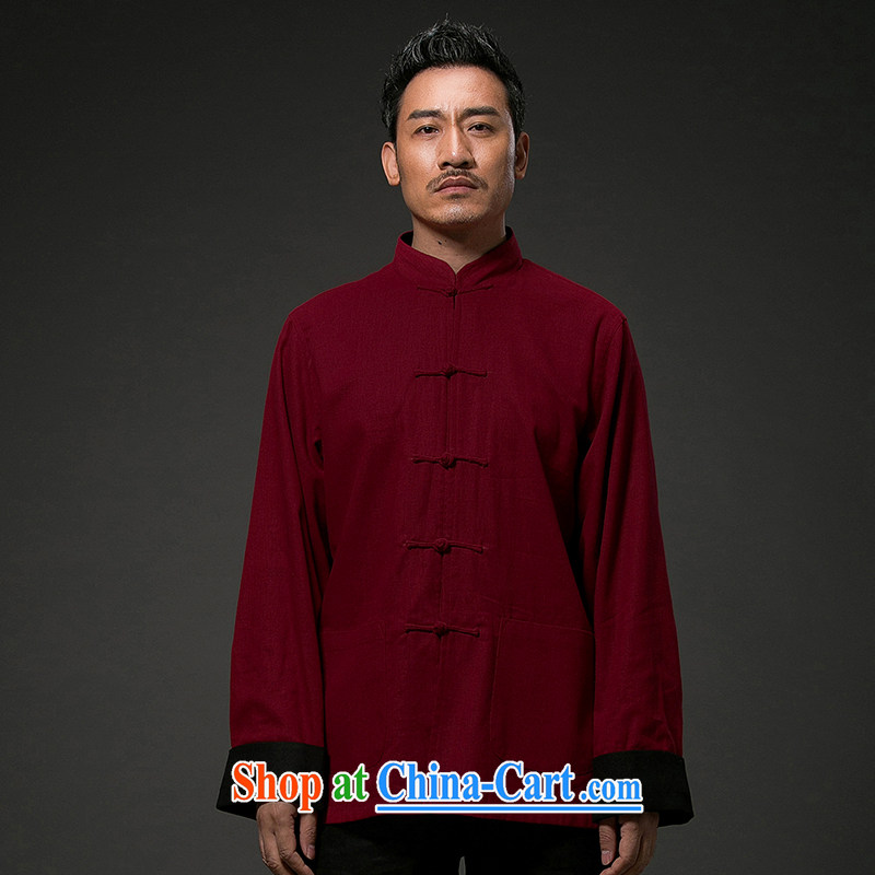 Internationally renowned Chinese style retro men's Chinese Chinese men and Han-cultivating Long-Sleeve the generalissimo deduction for two-sided wear clothing and�red 4 L