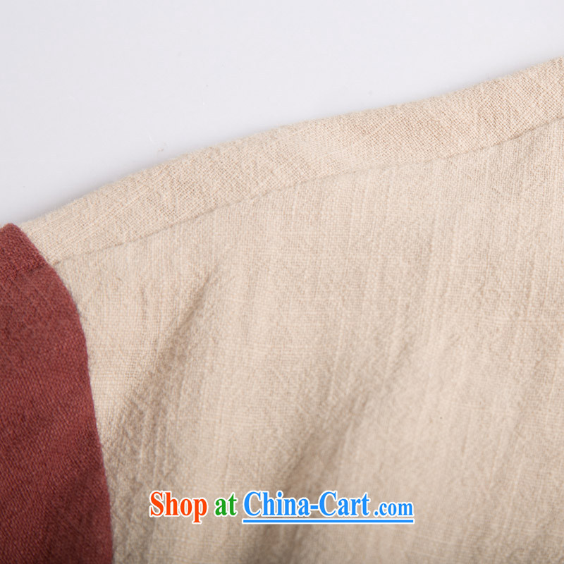 Internationally renowned original Chinese wind leave of two in Sau San Tong replacing men and Han-men's long-sleeved T-shirt with autumn flax spell color-charge-back the collar shirt Cornhusk yellow XXXL, internationally renowned (CHIYU), shopping on the