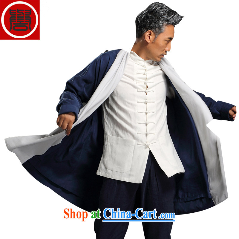 Internationally renowned Chinese wind fall and winter wind jacket men fall in long day set, the Chinese men's cardigan, served long-sleeved T-shirt autumn and winter Chinese wind Yi Han-Male Blue XXXL