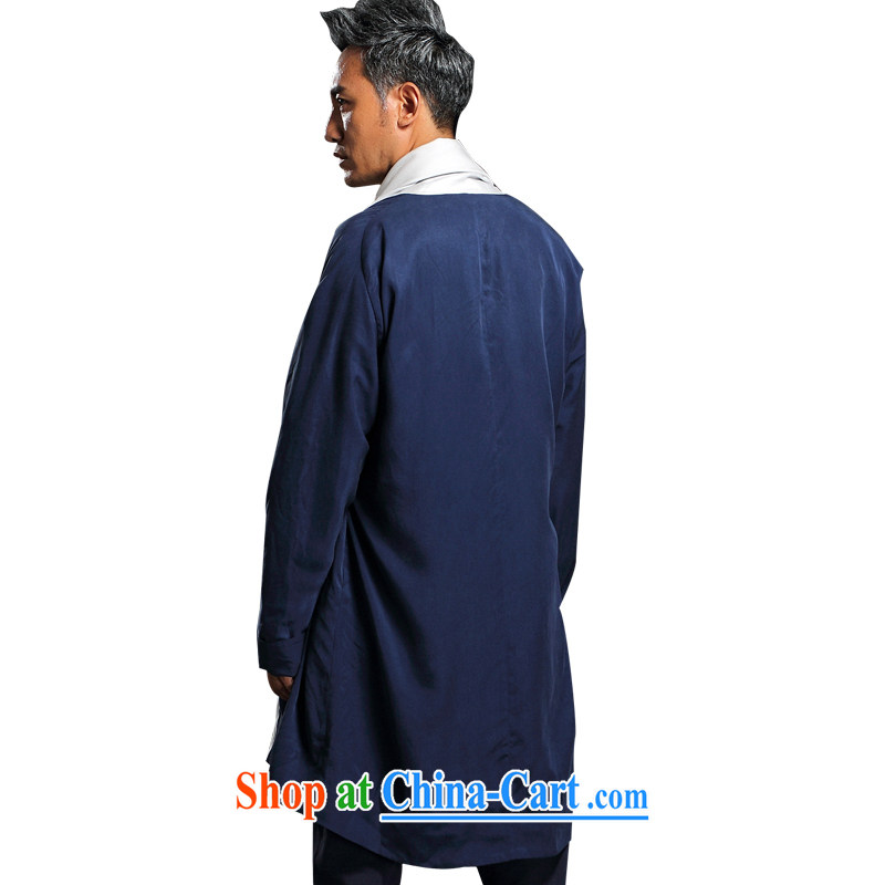 Internationally renowned Chinese wind fall and winter wind jacket men and fall in, long, a day, the Chinese men and the T-shirt, served long-sleeved T-shirt autumn and winter Chinese wind Yi Han-Male Blue XXXL, internationally renowned (CHIYU), shopping o