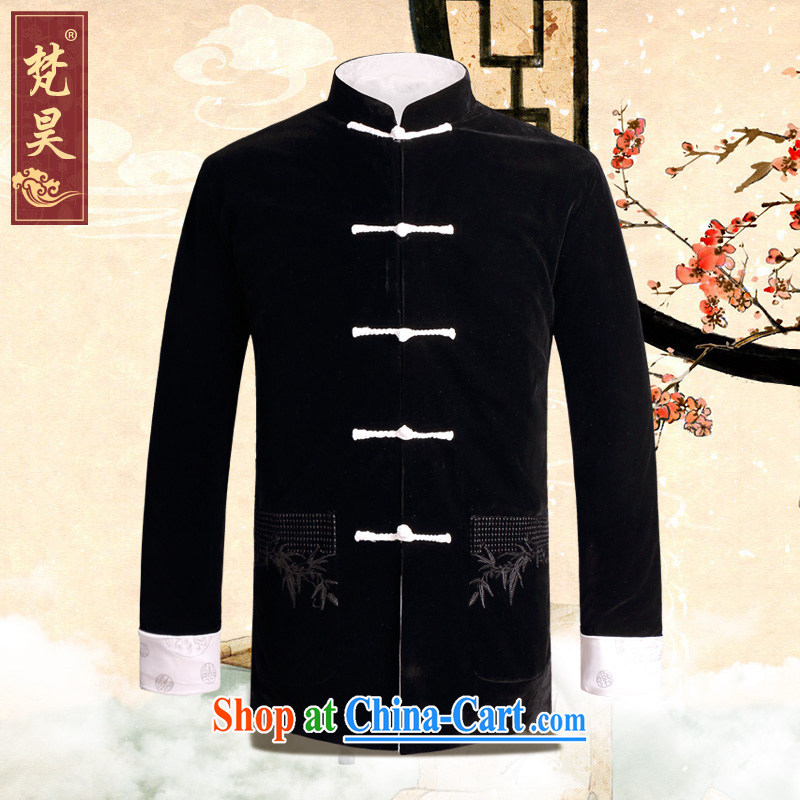 Van Gogh's new gold velour Chinese male jacket double-sided wearing a long-sleeved winter jackets Chinese-tie father boxed birthday dress white 4XL