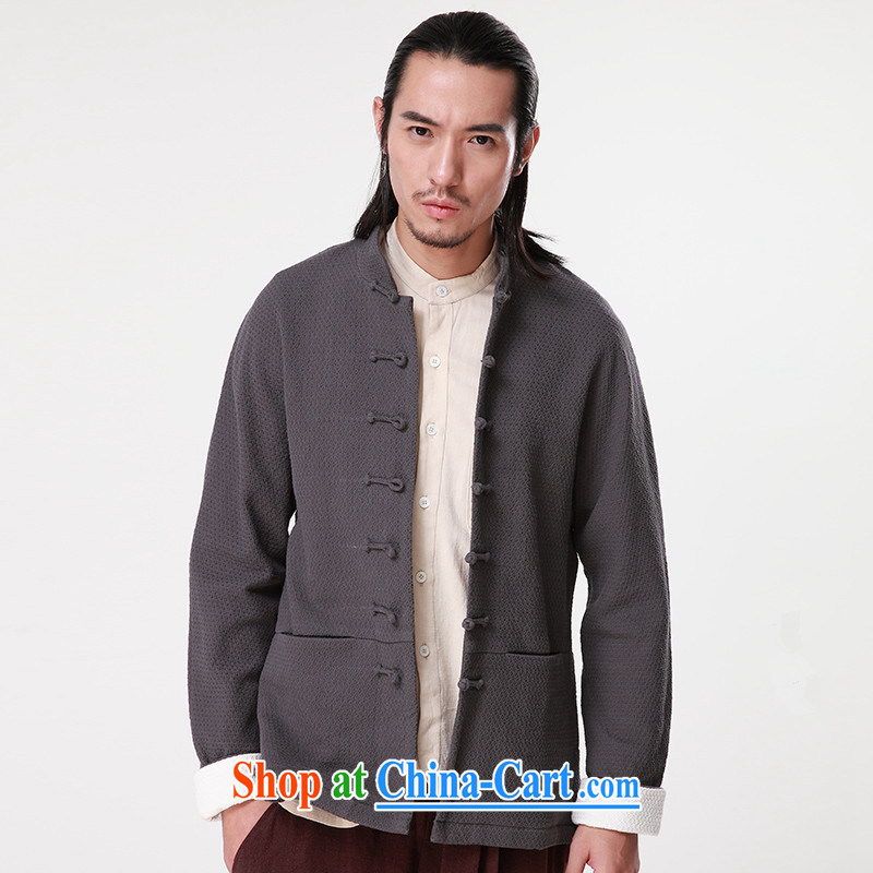 Mr Chau Tak-hay, snapshot men Tang jackets autumn and winter new casual jacket and the tie jacquard cotton Ma jacket Han-gray XL