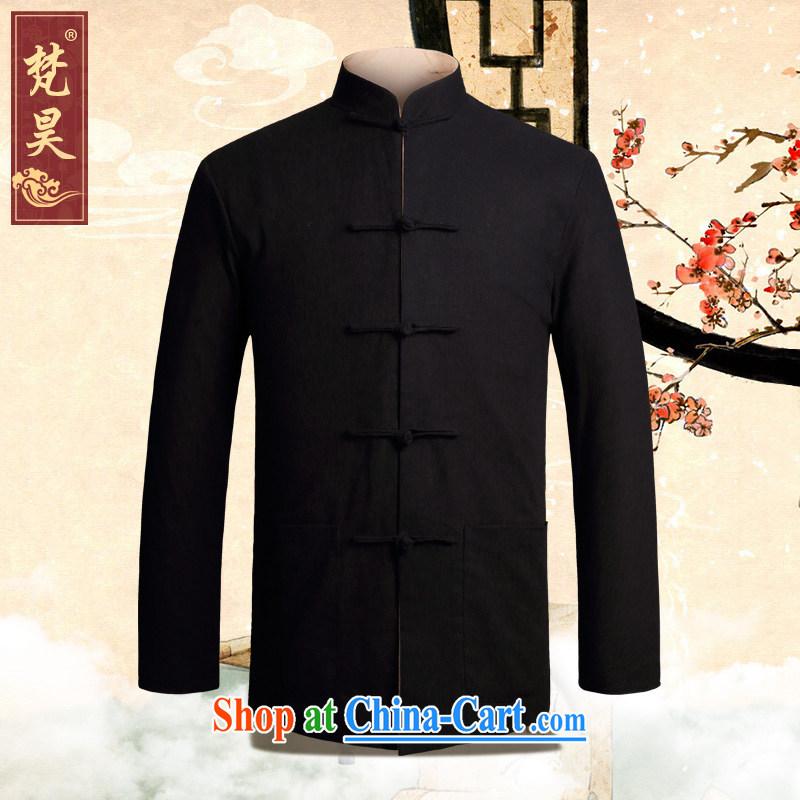 Van Gogh's annual聽fall and winter new cotton the Chinese men's jacket double-sided through, for Chinese-tie old muslin Tang with long-sleeved, older black M duplex 4 XL