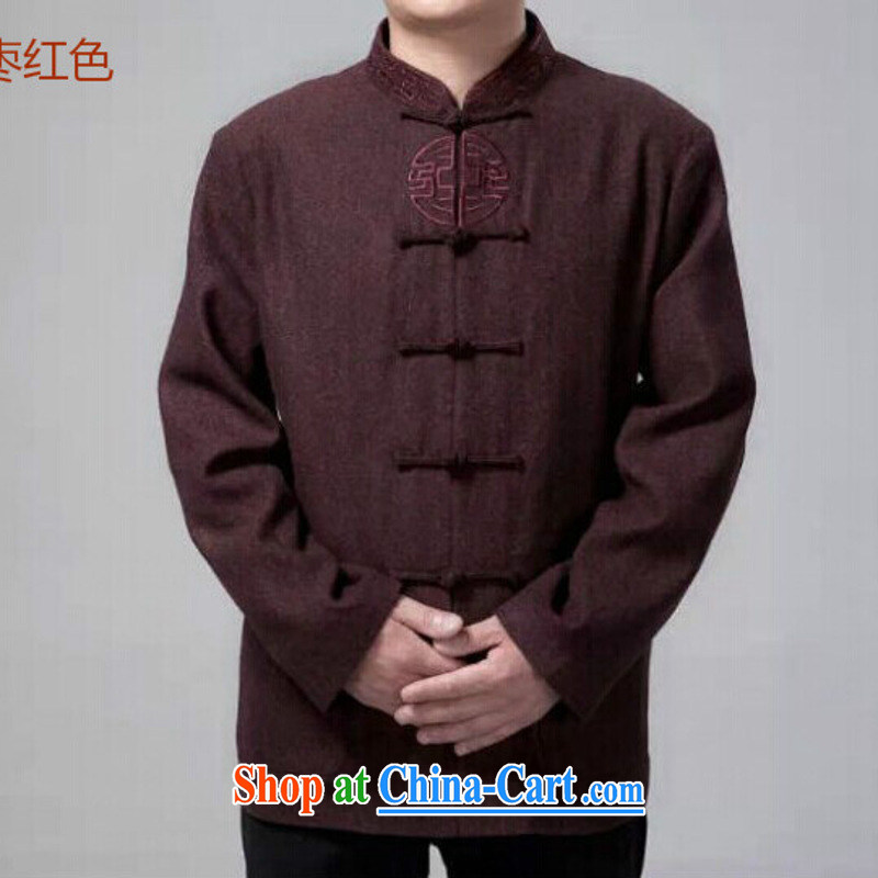 Men's Chinese China wind fall and winter new long-sleeved and indeed intensify his father in older Han-embroidered jacket Uhlans on 190 / 104 (4) XL