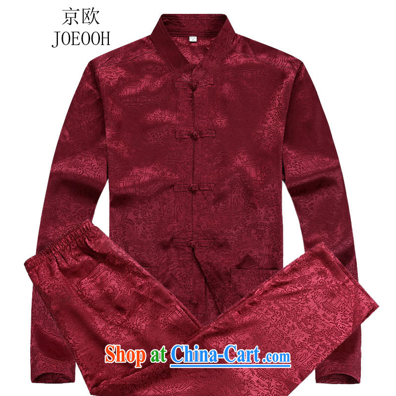 Beijing autumn the new Chinese men's long-sleeved Kit men Tang Red Kit XXXL