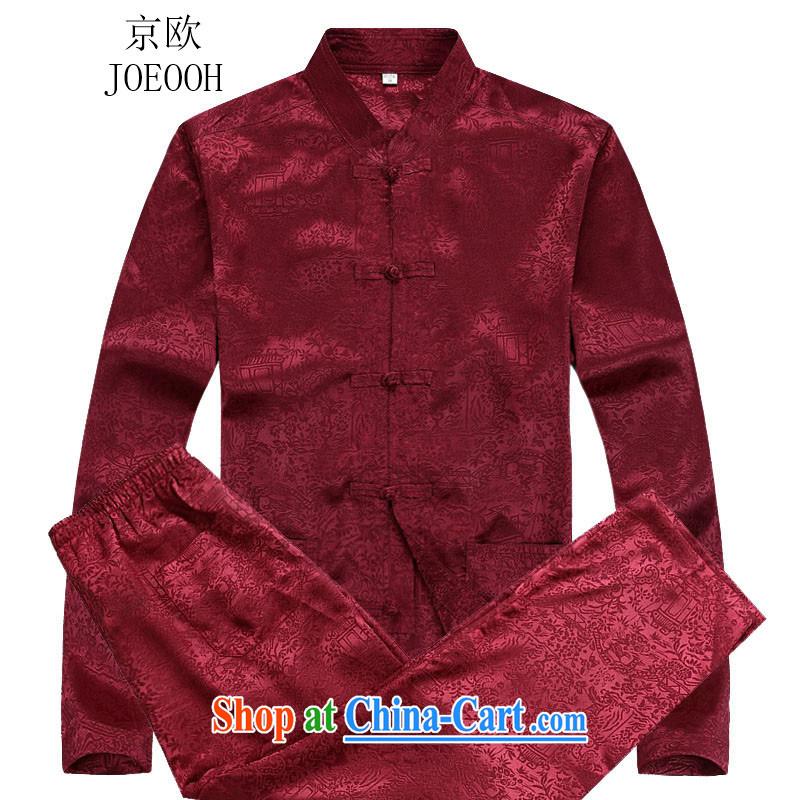 Beijing autumn the new Chinese men's long-sleeved Kit men Tang Red Kit XXXL