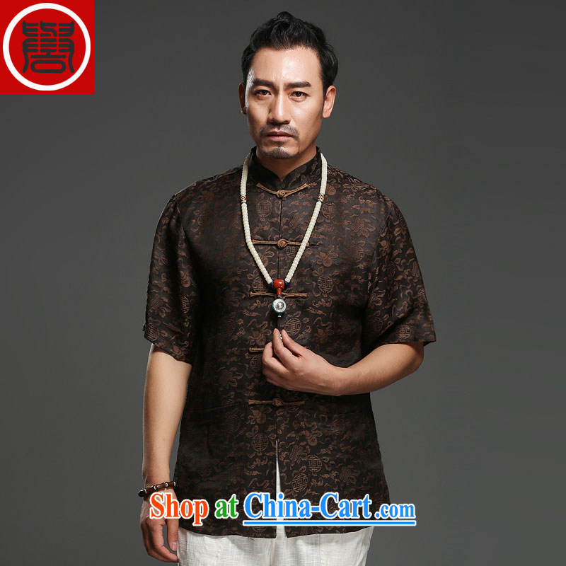 Internationally renowned Chinese clothing men's Summer Scent cloud yarn is silk, older Chinese men's short-sleeve-tie China wind father replace T 0024 black 3 XL