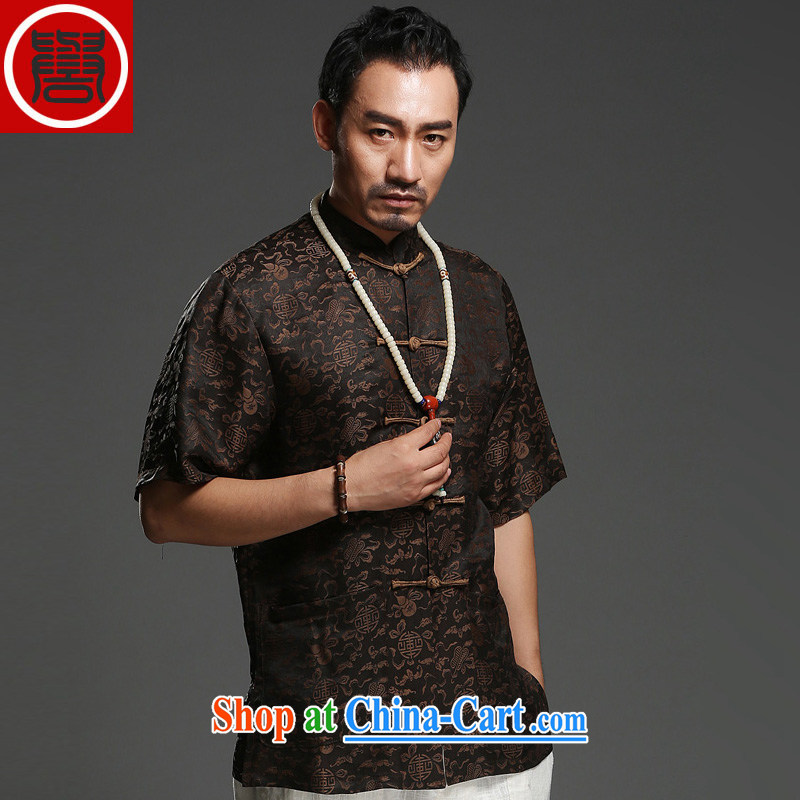 Internationally renowned Chinese clothing men's Summer Scent cloud yarn silk, older Chinese men's short-sleeve-tie China wind father replace T 0024 black 3 XL, internationally renowned (chiyu), online shopping