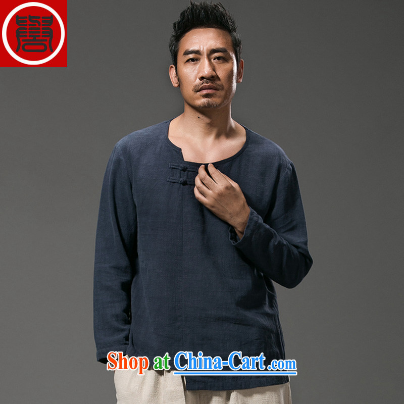 Internationally renowned Chinese clothing Chinese Wind and long-sleeved T-shirt male and Chinese men's Autumn with men, served the charge-back national costumes 2015 personalized blue 4XL