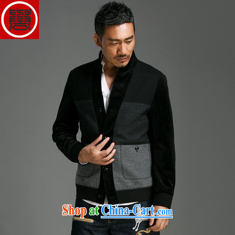 Internationally renowned Chinese clothing fall_winter men's wool, for high-end men's woolen coat is the coat short windbreaker jacket and dark gray 8021 3 XL