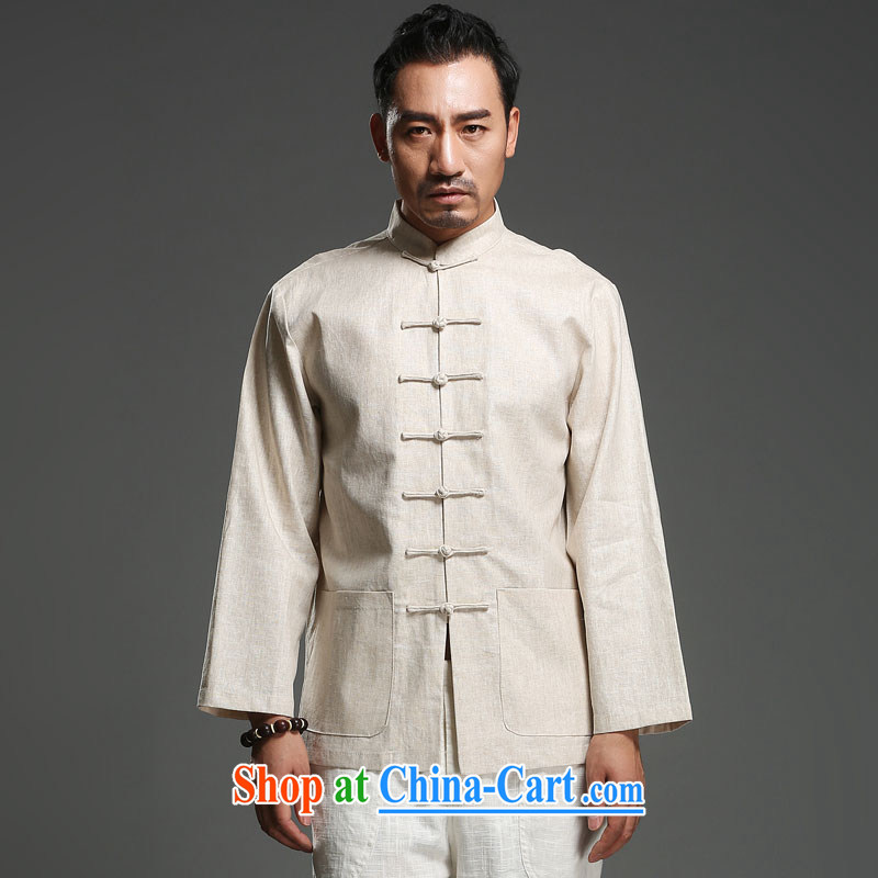 Internationally renowned Chinese clothing Chinese style Chinese long-sleeved men's spring loaded new Chinese men's long-sleeved-tie Chinese father with cotton, the beige 3XL