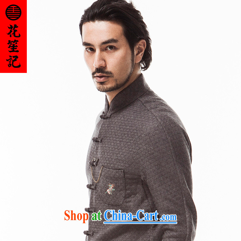 His Excellency took note national antique Chinese wind knocked-color knitting, The washable Sau San Tong replacing men and taxi stand collar long-sleeved gray Autumn Campaign (XXL)