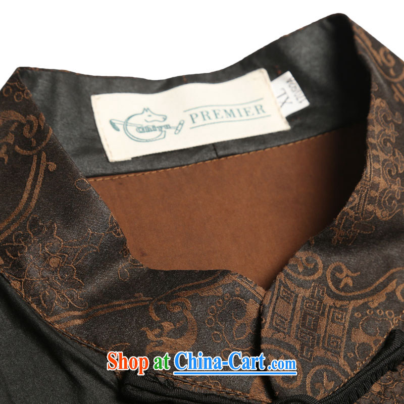 Internationally renowned Chinese clothing men's Silk short-sleeved Chinese male Chinese shirt sauna silk shirt incense cloud yarn and half sleeve national T 9139 black 3 XL, internationally renowned (chiyu), online shopping