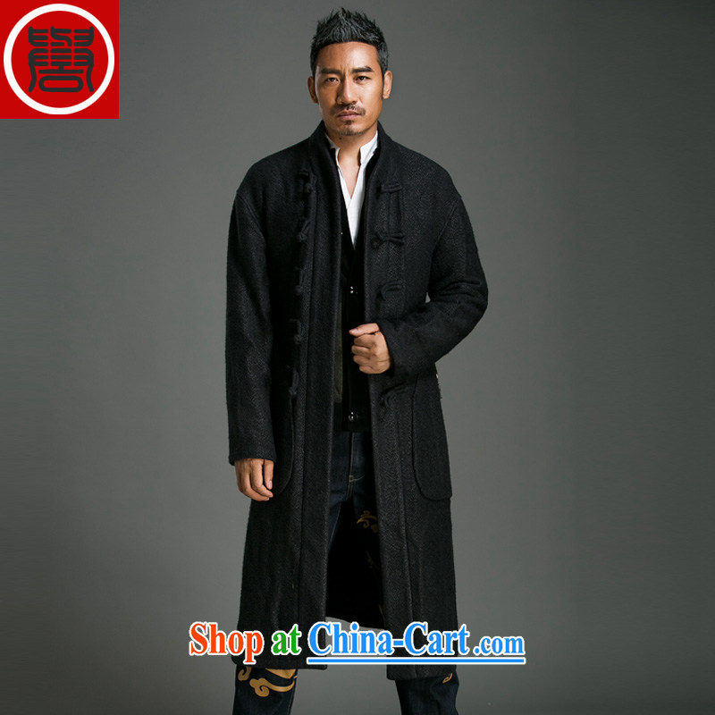 Internationally renowned Chinese clothing fall_winter men's casual half-high collar coat single-charge-back China's new wave length of wool, so wind jacket 71 black 3 XL
