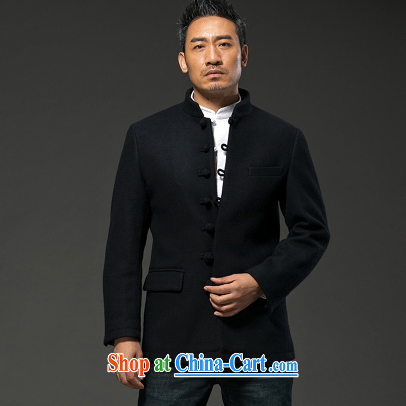 Internationally renowned China Clothing 2015 men's winter jackets short long-sleeved Solid Color thick wool Smock is the business and leisure jacket male and crisp black 3XL