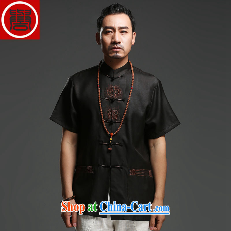 Internationally renowned Chinese clothing men's Chinese silk short-sleeved fragrant cloud yarn men's T-shirt my father is Chinese, for Chinese wind T summer 9138 black 3 XL, internationally renowned (chiyu), online shopping