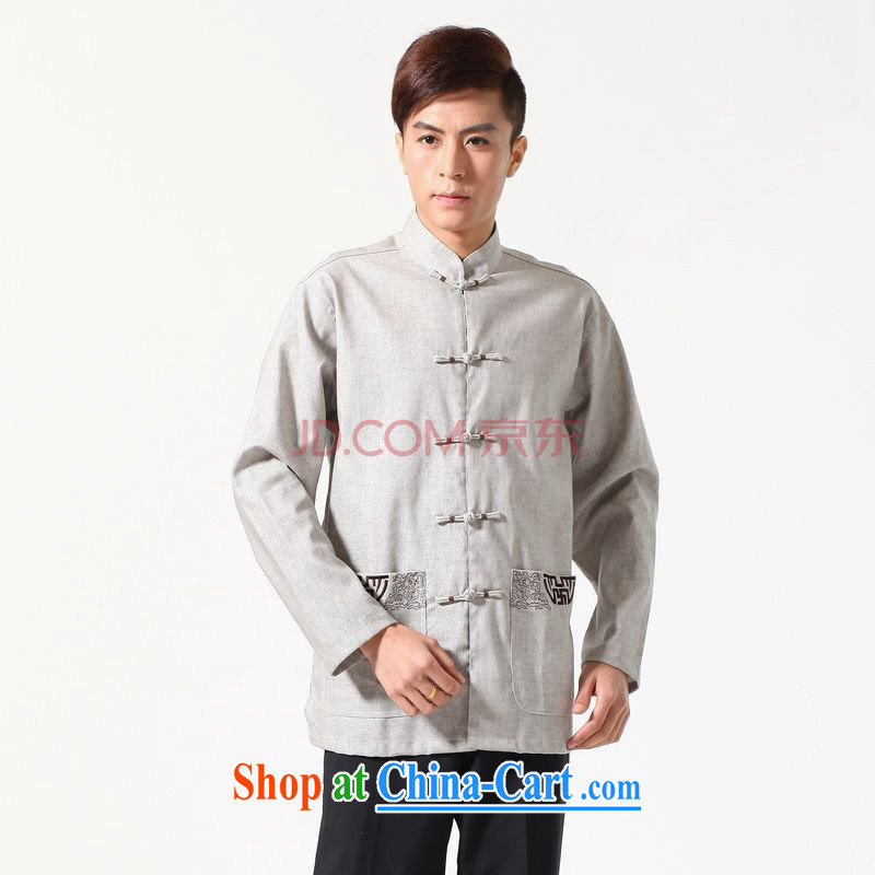 Joseph's cotton long-sleeved Chinese Chinese improved smock the code and replace the collar embroidered cotton the Chinese shirt - A gray XXXL