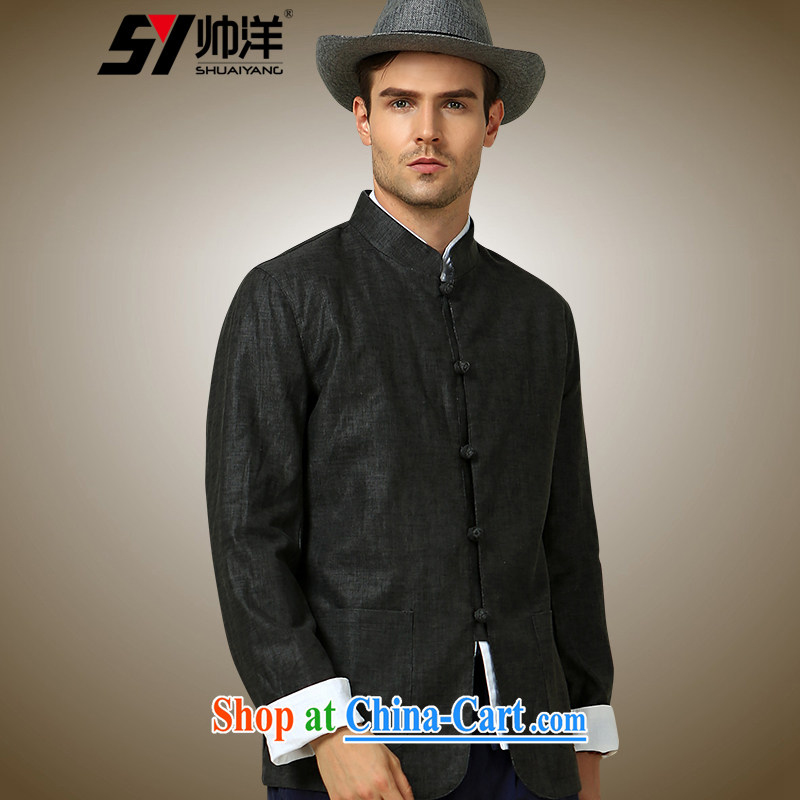 cool ocean autumn 2015 The New Man Tang jackets China wind up for Chinese jacket is withholding the dark gray 190