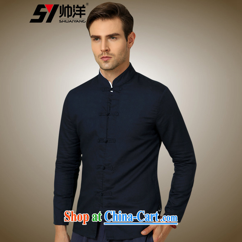 cool ocean 2015 new cotton Ma Man Tang with long-sleeved shirt China wind up collar shirt 100a Chinese solid shirt dress Navy 185