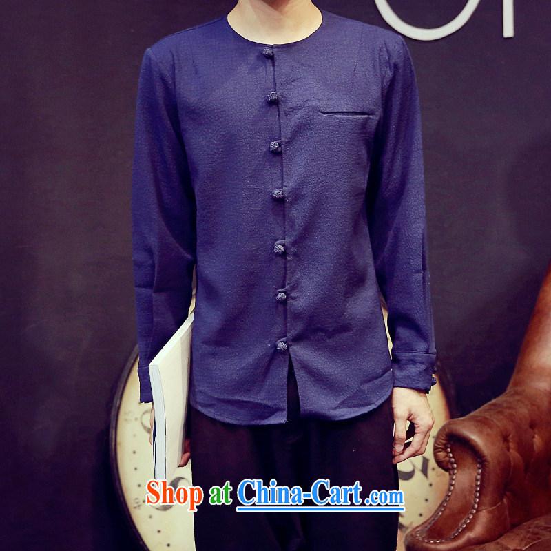 Dan Jie Shi 2015 New Men's leisure cultivating long-sleeved China wind retro trend shirt cynosure casual shirt hidden cyan XXXL