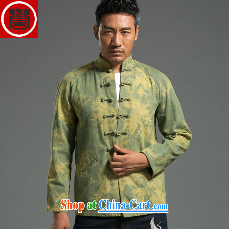 Internationally renowned Chinese wind fall and winter Chinese men and Han-men denim shirt jacket and smock for national dress jacket and light colored?XXXL
