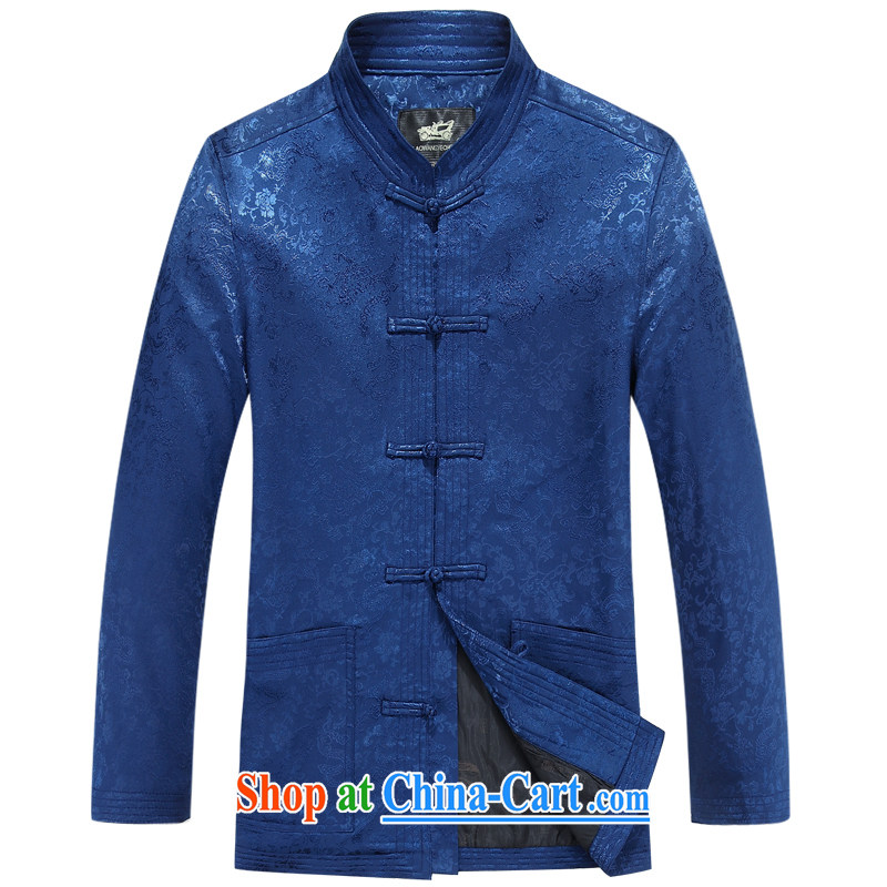 The British, Mr Rafael Hui, autumn and replacing older people in Chinese men's long-sleeved birthday life Chinese Dress elderly thin coat deep red T-shirt blue 190_104 A
