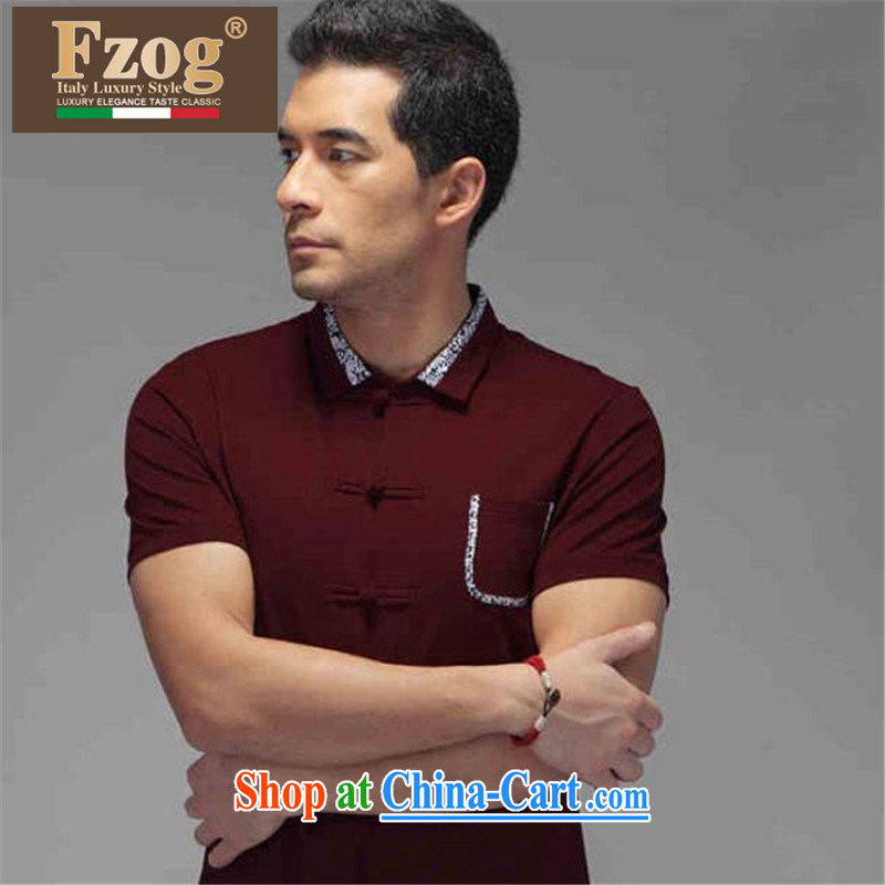 FZOG counters are men's casual simplicity from hot men's Youth cultivating short-sleeve stereo-buckle Tang with deep red XXXXL