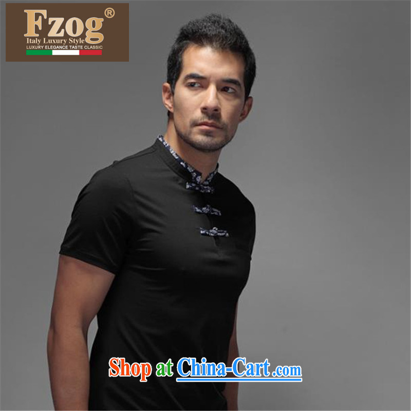 FZOG counters are new and stylish casual men's Youth cultivating short-sleeve Tang with 100 comfortable ground black XXXXL