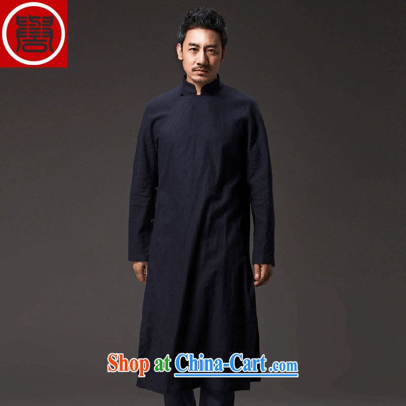 Internationally renowned Chinese clothing Chinese long-sleeved improved Han-cynosure practice serving loose the tight T-shirt men's China wind cotton the tea service deep blue XXXL