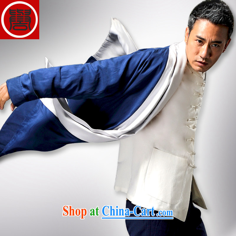 Internationally renowned Chinese clothing Chinese wind day, the Tang on the T-shirt improved, served long-sleeved T-shirt Autumn Chinese long windbreaker and聽blue 3 XL