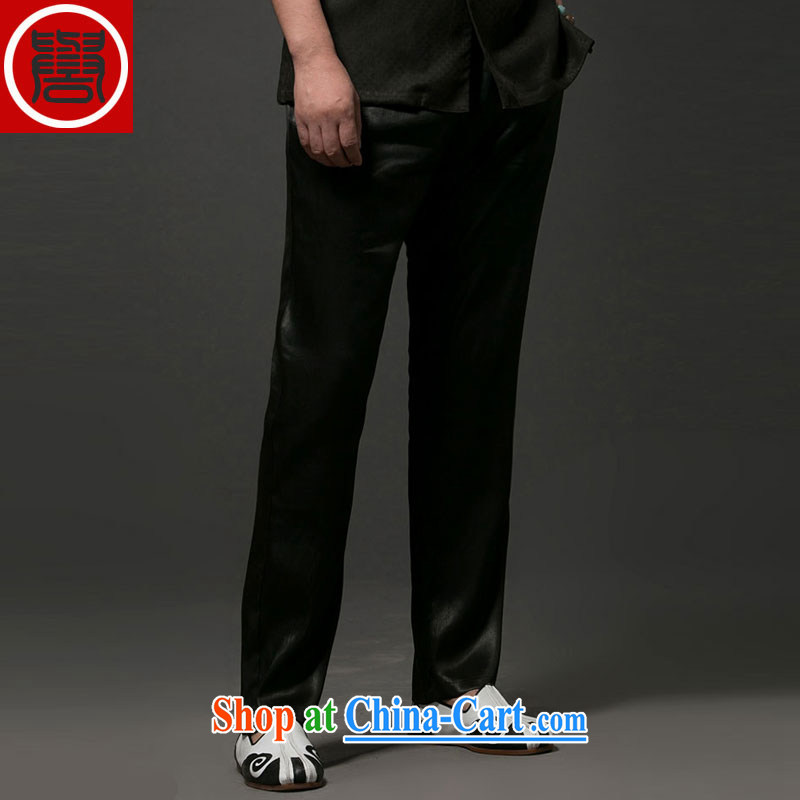 Internationally renowned Chinese clothing internationally renowned Chinese China wind summer men's fragrance cloud yarn silk men's trousers and has been relaxed silk elastic waist men long pants black 4 XL
