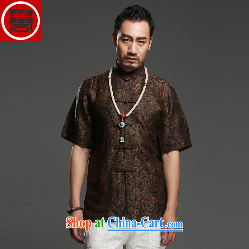 Internationally renowned Chinese clothing ethnic unrest 2015 summer shirt men's 100_ sauna silk shirt short-sleeve and collar silk Tang replace brown XXXL