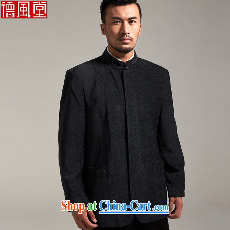 De-church fall 1000 China wind men's jackets short jackets 2015 autumn and winter long-sleeved middle-aged father black 52