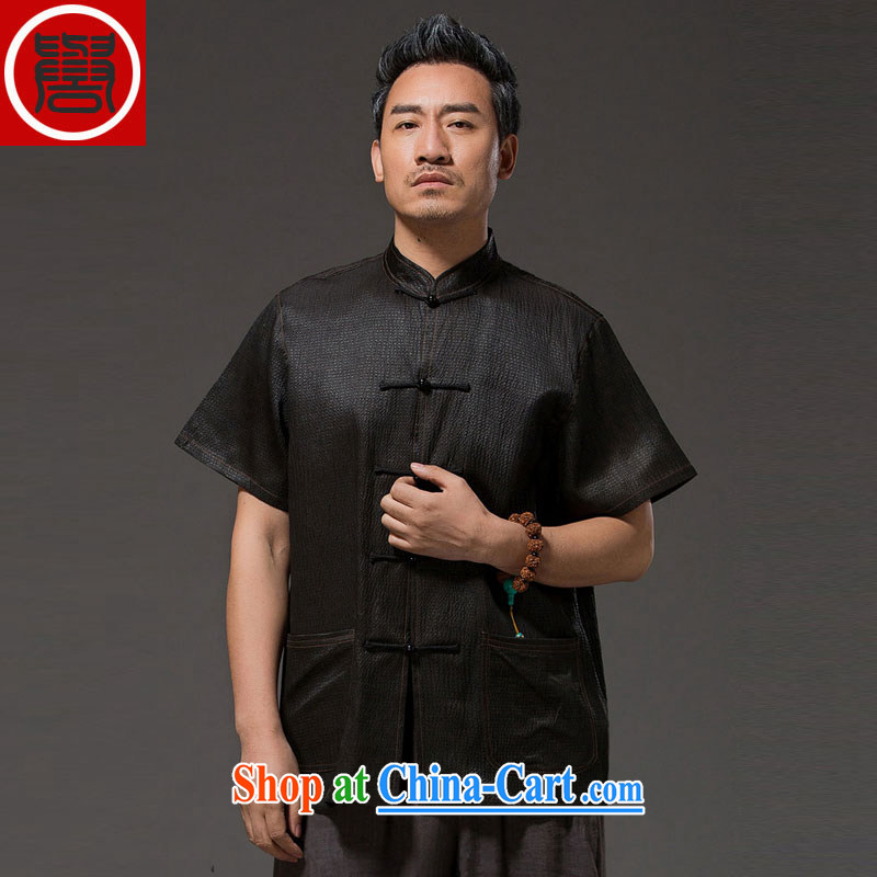 Internationally renowned Chinese Service sauna silk ethnic-Chinese middle-aged and older men with silk incense cloud yarn T-shirt short-sleeved silk Tang black 4XL