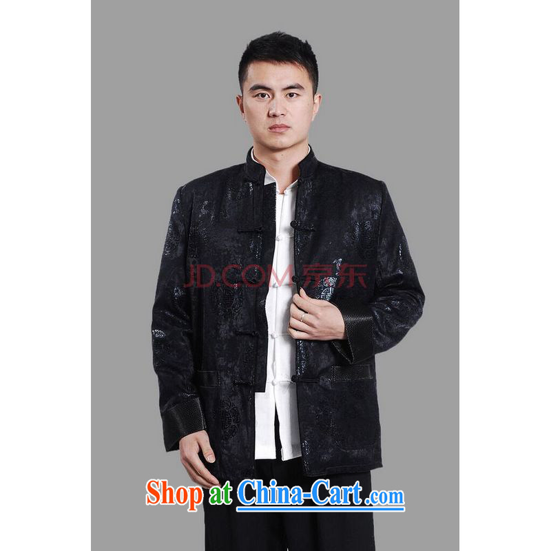 Joseph's cotton men's jacket water marten hairs Tang with the lint-free cloth with short men's long-sleeved jacket Chinese Dragon Chinese T-shirt dark blue XXXL