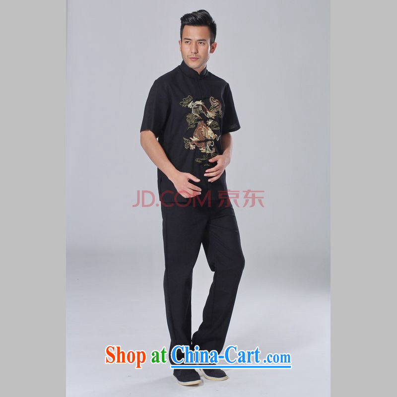 Cotton Joseph middle-aged and older Chinese men and summer, cotton for the Chinese Tai Chi clothing men's short-sleeve packaged the code men's kung fu Kit black XXXL