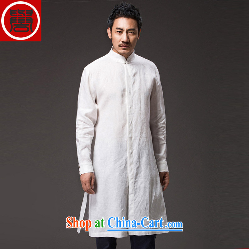 Internationally renowned Chinese clothing internationally renowned Chinese men and autumn, China wind linen men's casual clothing men's dress long men's windbreaker white 4XL