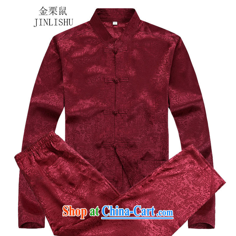 The chestnut mouse autumn 2015 new Chinese long-sleeved men's middle-aged and older men Chinese T-shirt red XXXL