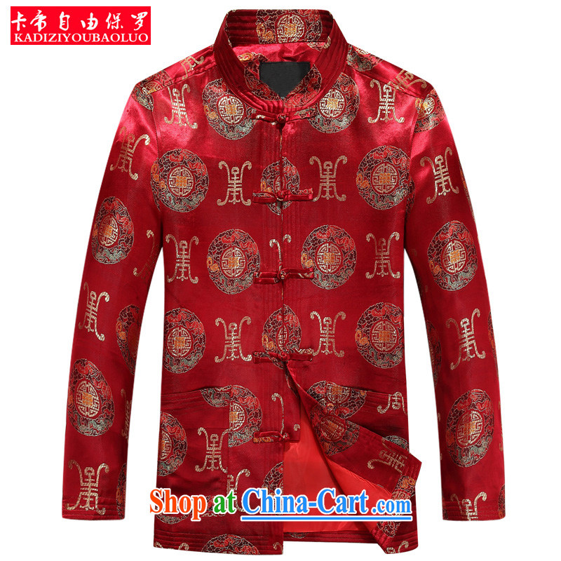 The Royal free Paul 2015 fall/winter new Chinese men's long-sleeved Tang fitted jacket in the old life clothing Chinese men's T-shirt China wind package mail red 190/3 XL