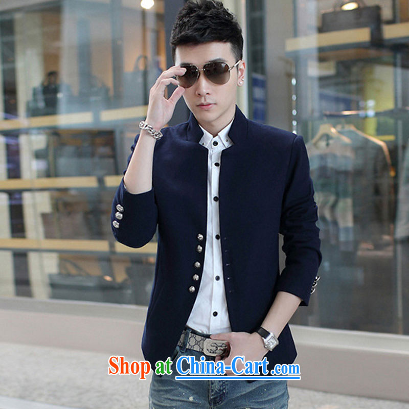 2015 fall and winter new men's jackets men's jackets men's Korean version, so for the jacket Solid Color smock Tibetan cyan XXXL