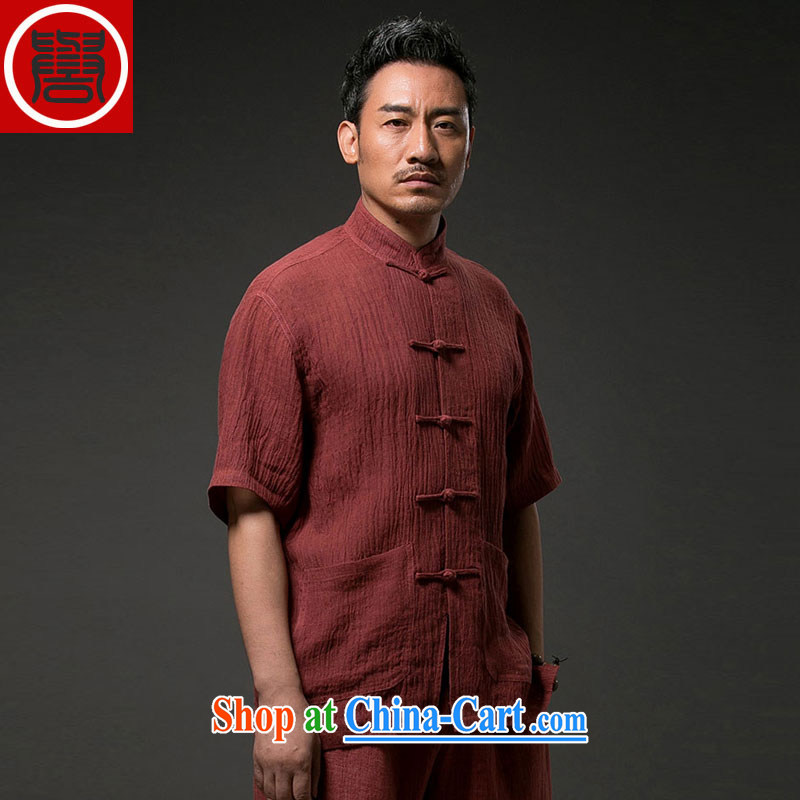 Internationally renowned Chinese clothing Chinese men's cotton mA short-sleeved, older Chinese short-sleeve the Aura is labelled as Yi national service men's summer wine red 4 XL