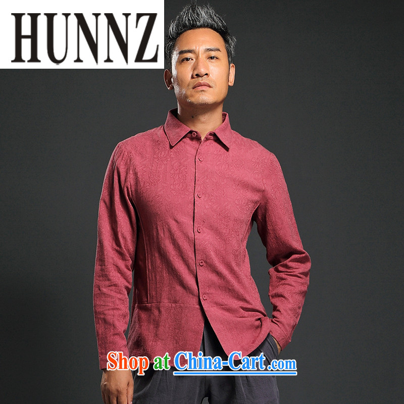 Products HUNNZ 2015 new Chinese wind male-tang with long-sleeved T-shirt lapel improved male national costumes shirt deep red XXXL