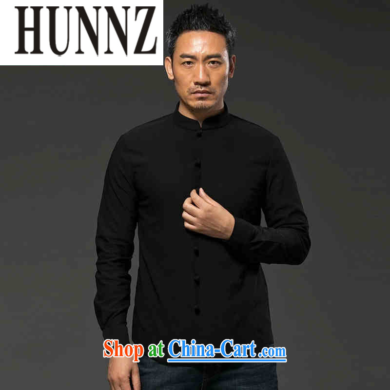 Products HUNNZ China wind units, the Commission adopted the charge-back Chinese male Chinese cultivating long-sleeved T-shirt, national costume black XXXXL